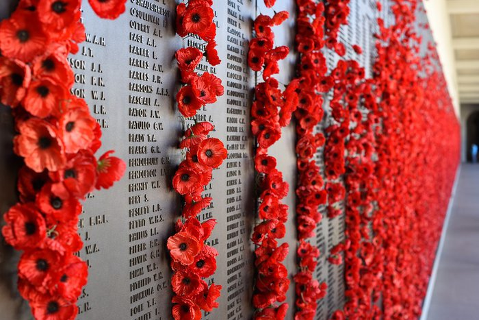 Remembrance poppies on memorial wall