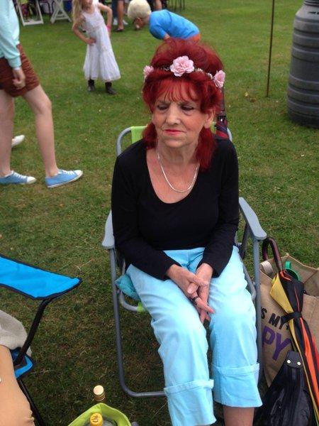 Mum at Rollestonbury open air concert