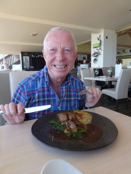 Bideford Brian enjoying his lunch at the Pier House, Westward Ho! He had a great appetite and zest for life. Certainly the most well known character in the Bideford area. Bideford mourns for you Brian.