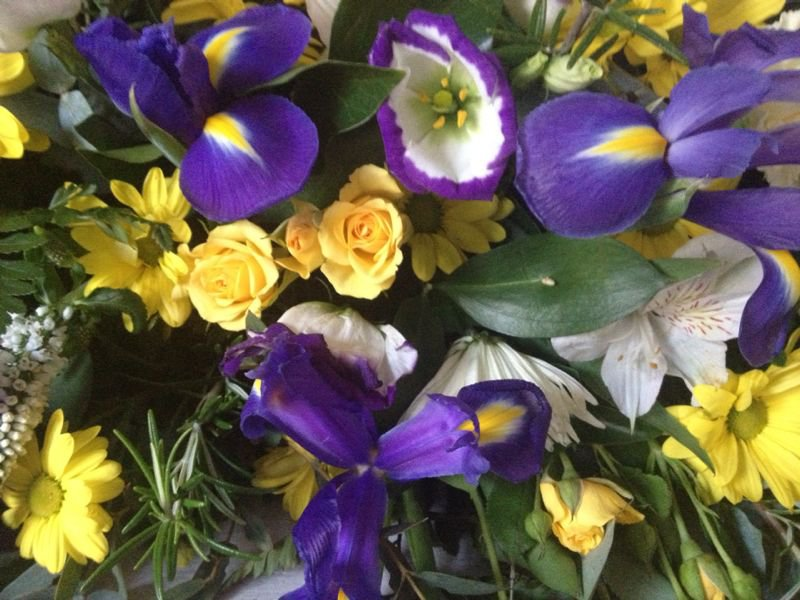 Your favourite flowers and colours. Xxxxxxx   From your ever loving daughter, Lorraine.