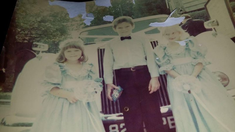Mandy and Tony's wedding.  Me and my cousin as bridesmaids and my brother as page boy 💖