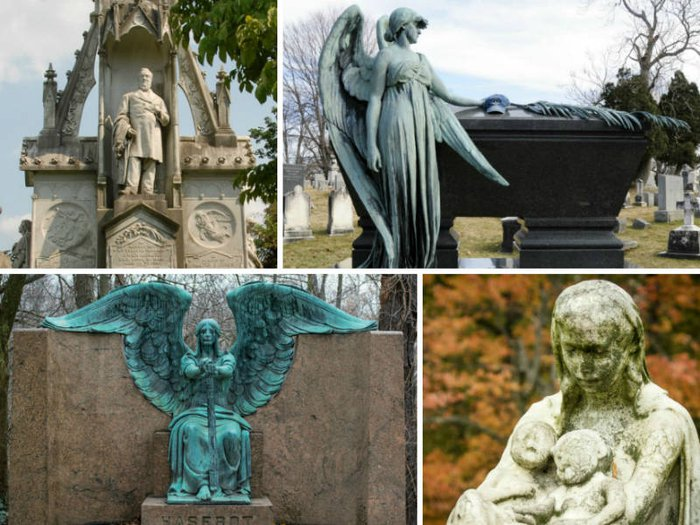 The Owen Jones monument, Chester A. Arthur's tomb, the Angel of Death on the Haserot family tomb, and Mother and Twins gravestone at Laurel Hill Cemetery