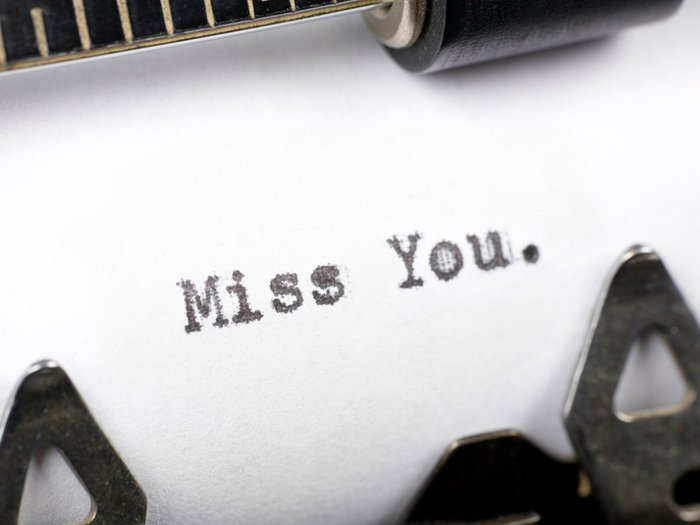 'Miss you' typed on typewriter