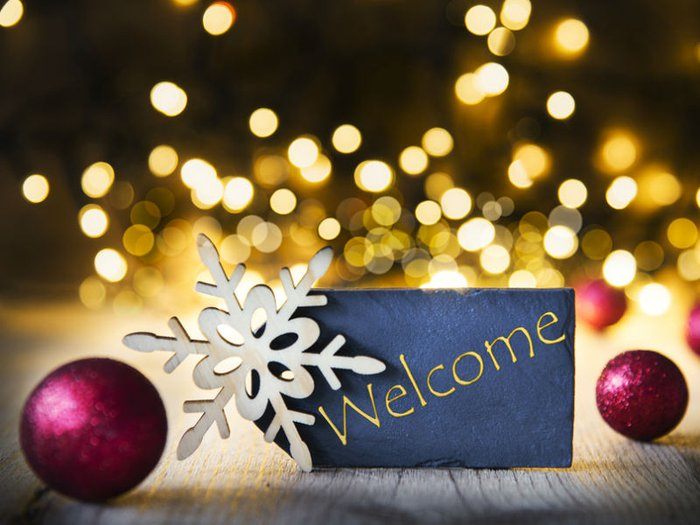 Xmas decorations and welcome sign