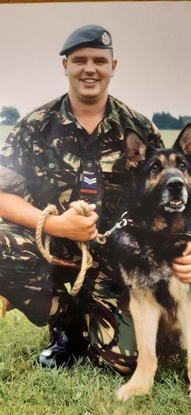 Robin's RAF days with his four legged friend Rex 🐾