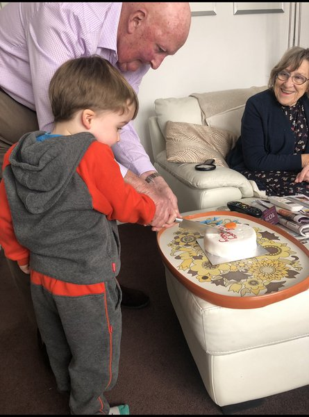 Enjoying a birthday celebration for Thomas