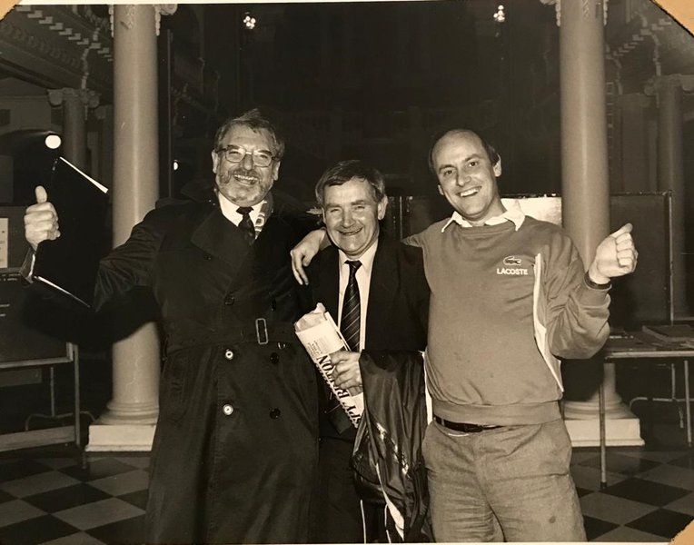 Ken, Philip and Adrian celebrate the Valley Party's victory at getting Charlton back to the Valley.