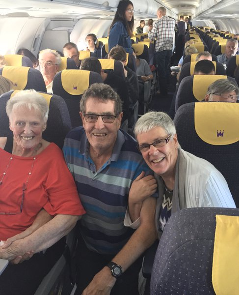 Geri, Ann and David on their way to Spain in 2017. Geri so loved to travel abroad with the family.