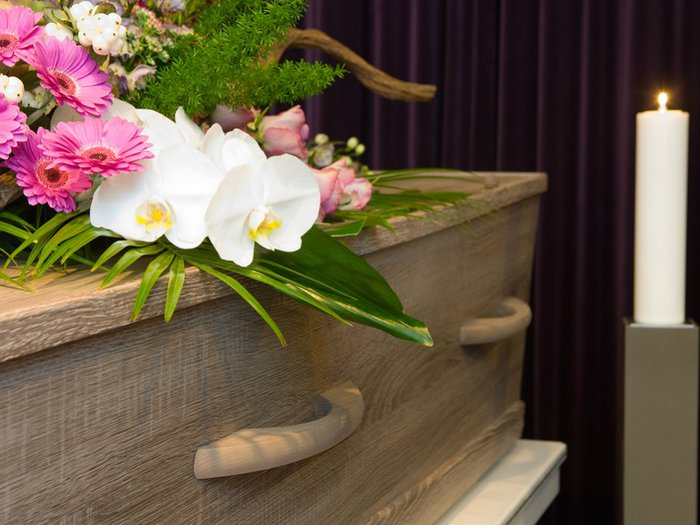A coffin in a chapel of rest