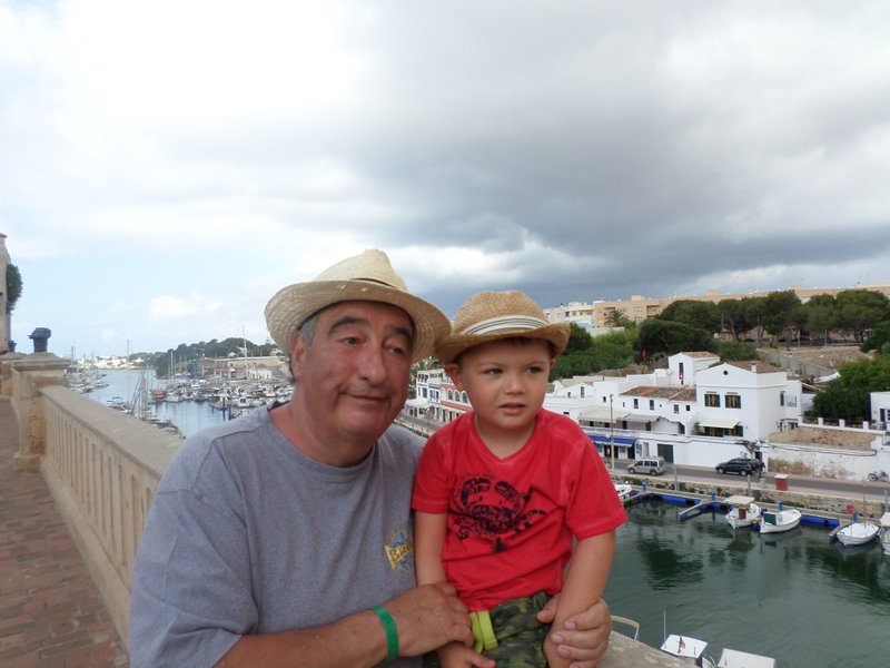 With his grandson in Minorca