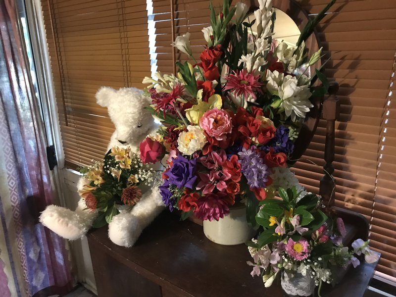 Teddy Bear and Flowers.