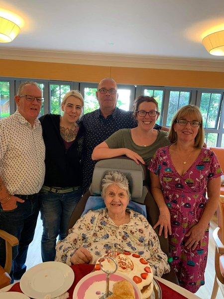 John, Laura, Dave Leigh Michelle celebrating mums 85th birthday x