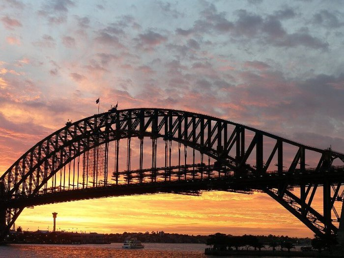 View of Sydney Harbour Bridge at sunset