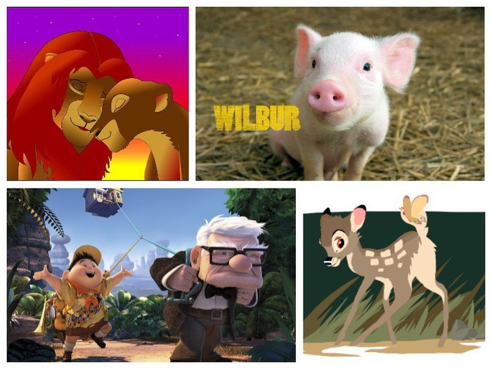 children's films: Up, Charlotte's Web, Bambi, Lion King