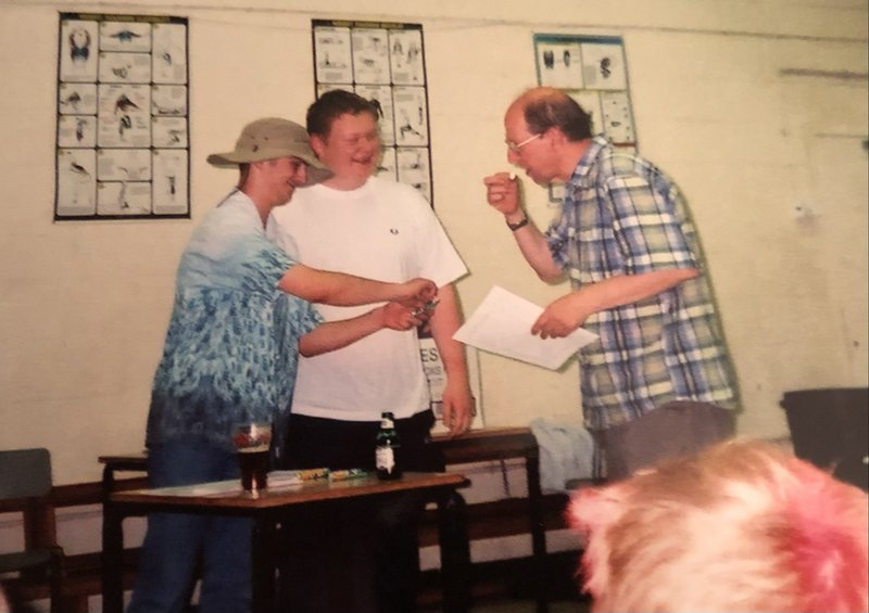 Receiving a much coveted Polo award at the Caister Choir Holiday. I can't remember what for though.