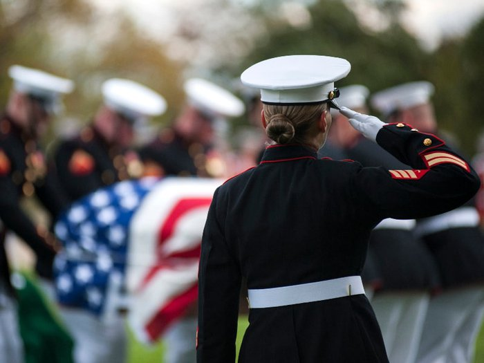A veteran's funeral taking place at Arlington National Cemetery
