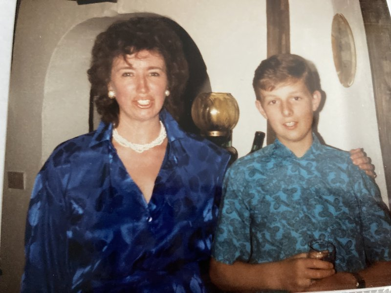 Nigel pictured with his Auntie Vicky his god mother