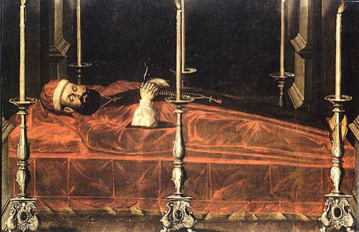 A classical painting of a religious man on a catafalque