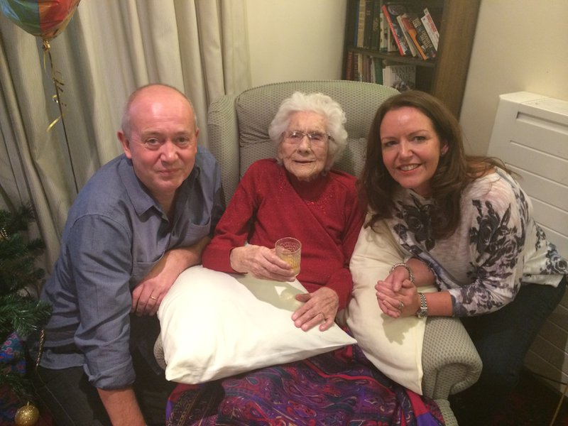 Den and I with nana celebrating her 100th birthday