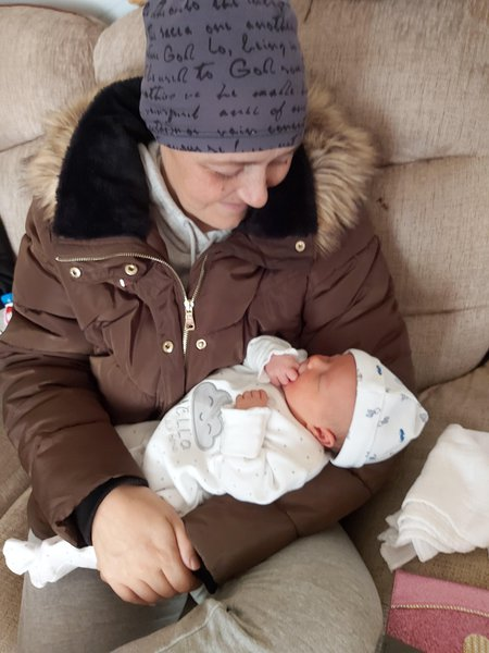 Nanny and grandson Tanner-Riley 1st meeting x
