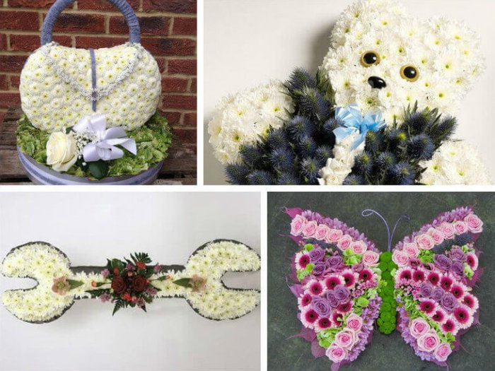 Special floral tributes for a funeral in the shape of a handbag, a teddy bear, a butterfly and a spanner