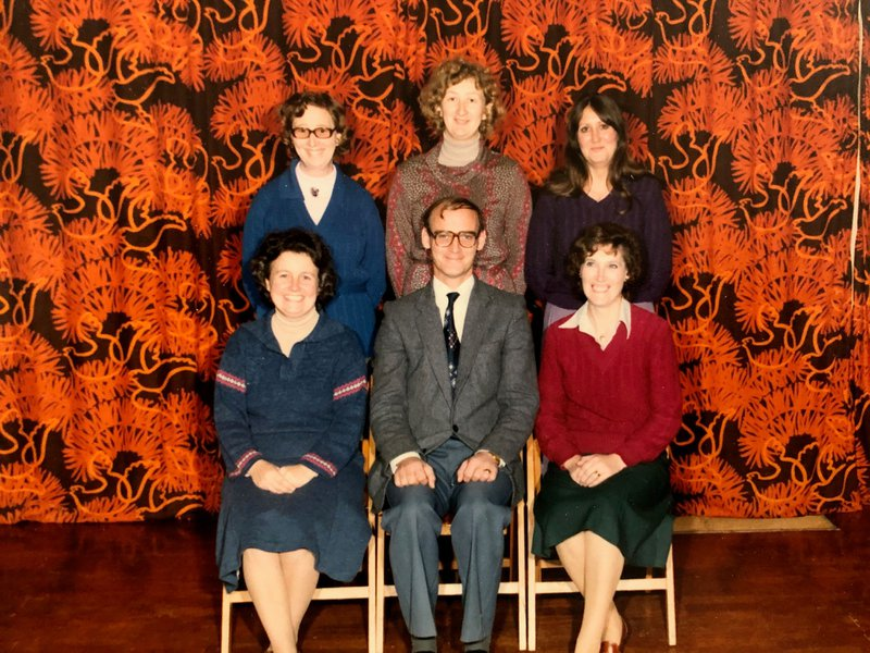 The staff of St Edwards in Neil's first year as headteacher (1979)
