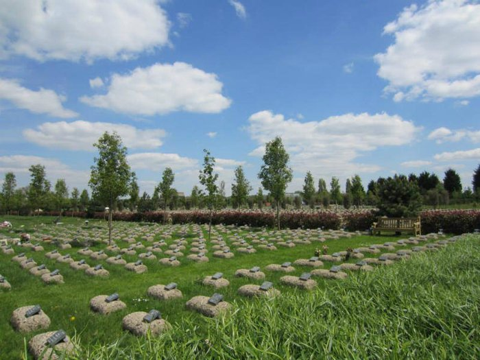 Rows of graves at the Gardens of Peace Muslim cemetery
