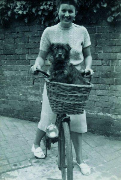 Viv with her dog Brindle.