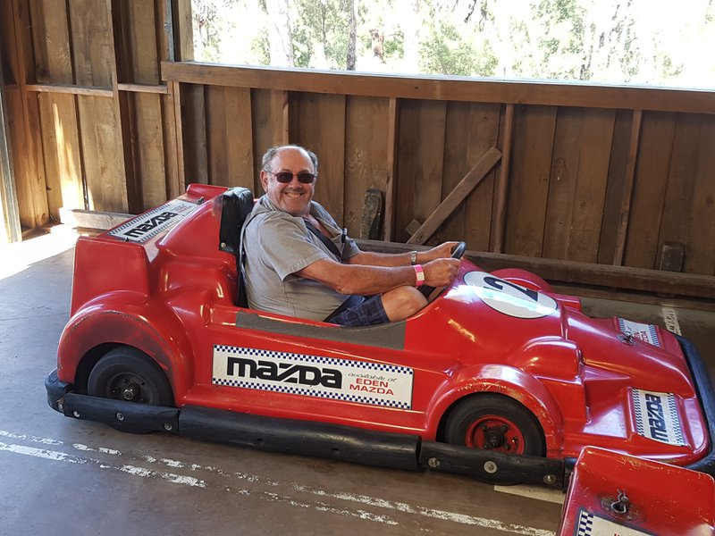 Alby just loved racing these cars at Magic Mountain, Merimbula.