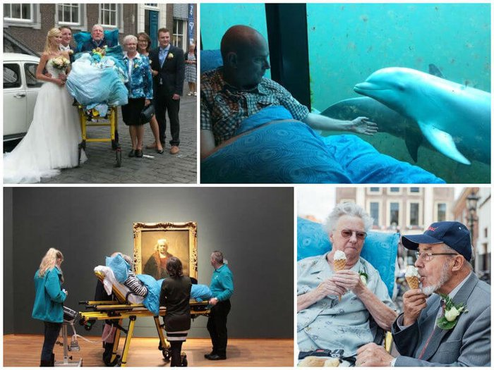 People fulfilling their last wish - attending a grandchild's wedding, seeing dolphins, visiting an art gallery and eating an ice cream