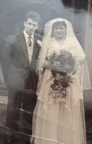 mum and dad on their wedding day 59 years ago
