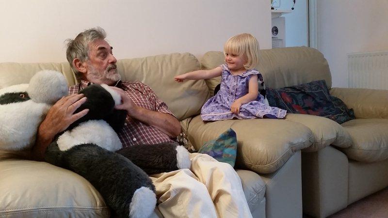 Bob keeping Mike & Pam's granddaughter Freya amused.