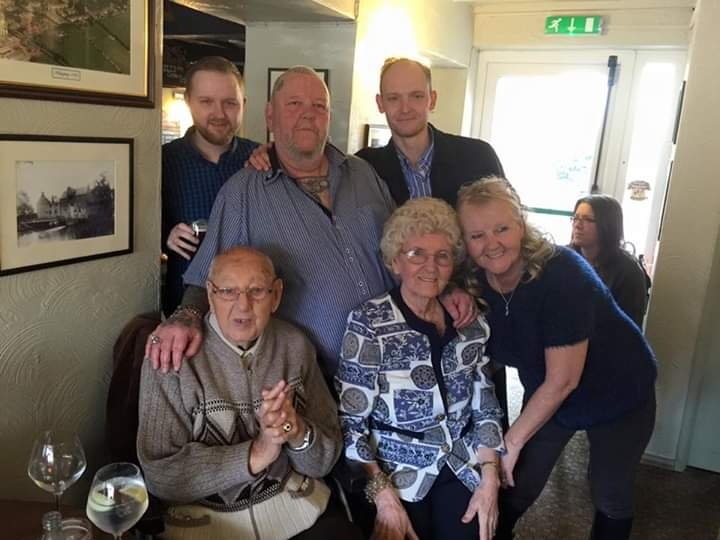 Raymond  with his two grandsons Kristen and Neil, his son ian daughter Glynis and wife Megan