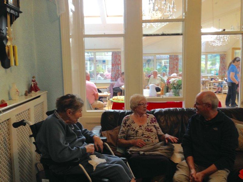 Mum enjoying a visit from Norah and David, June 2015