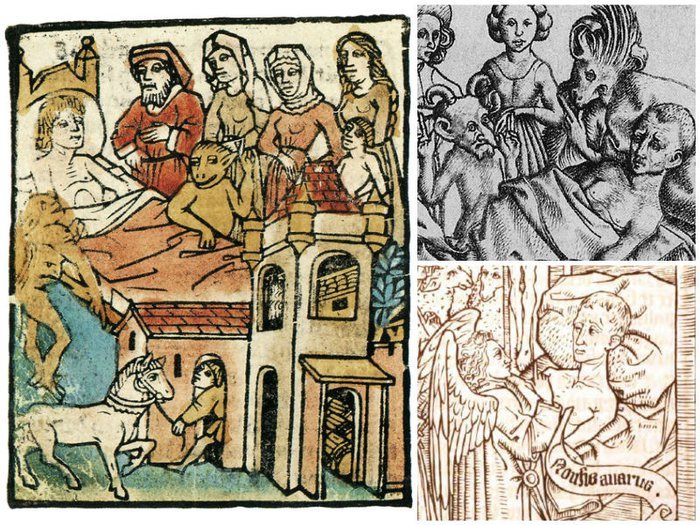 Three illustrations from Ars Moriendi, showing devils and angels around the bed of a dying man