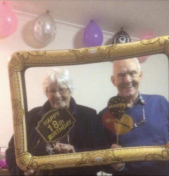 One of my favourite photos of Auntie Val and Uncle Allan taken two years ago. Auntie Val looks so mischievous with that smile!! Xxx