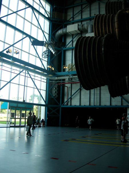 In Orlando, James next to the big Saturn 5 rocket