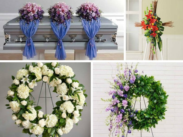 Selection of funeral flowers and floral tributes for a loved one's funeral