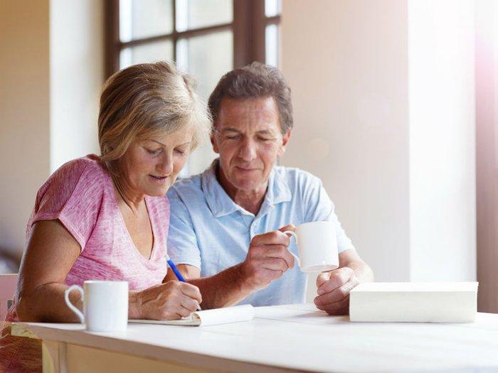 Couple having conversation about funeral plans