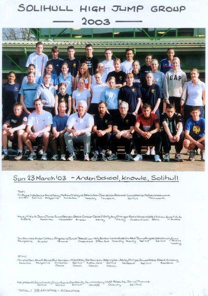 2003 Solihull High Jump Group