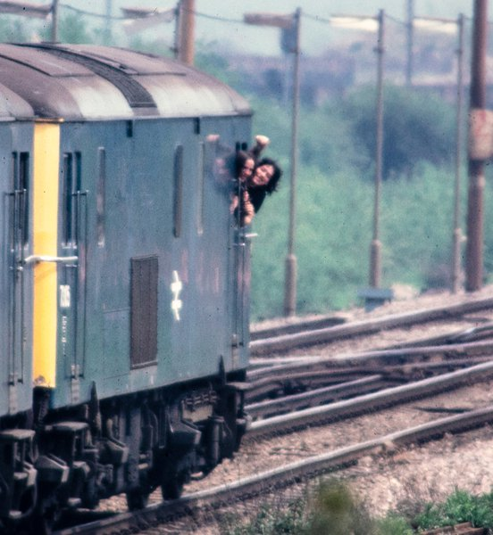 Bill and Stuart messing about in an old 76 at Hoo Junction, June 1982