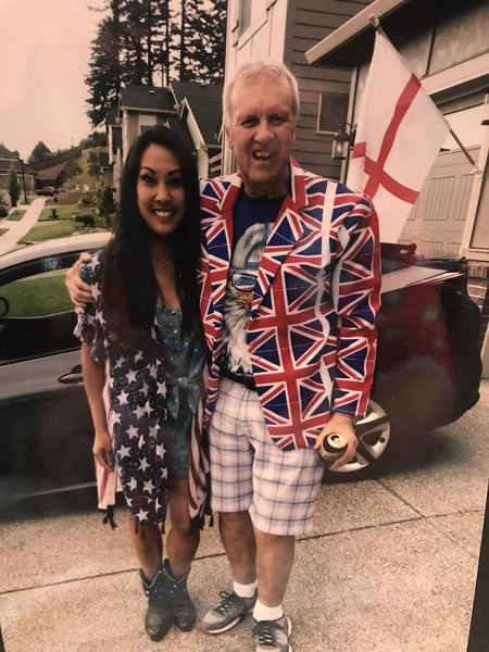 Dad and Ceci in July 4th. The Yanks loved that Jacket Dad!