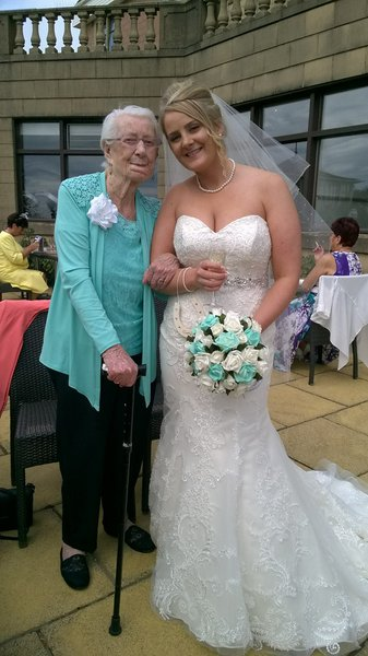 Gran and granddaughter Megan. I loved the fact gran matched my bridesmaids and flowers xxx
