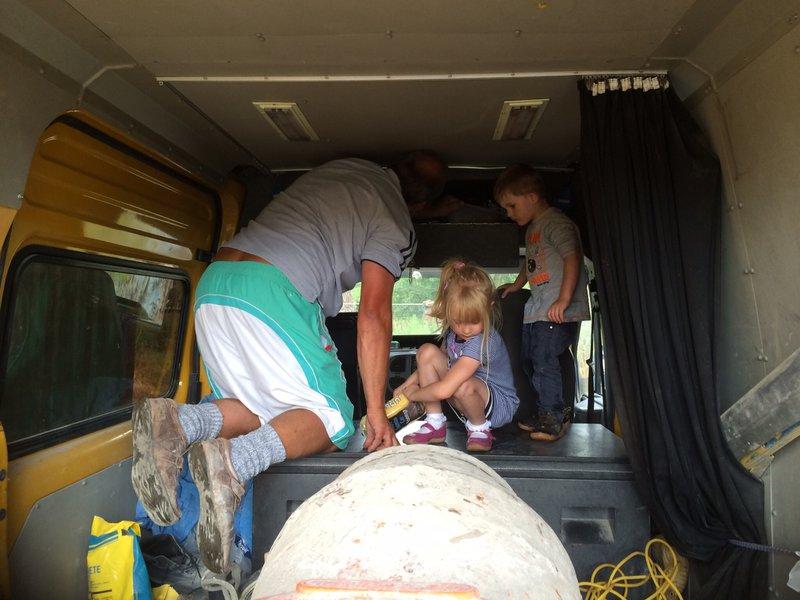 Treasure hunting for coins in pampys van