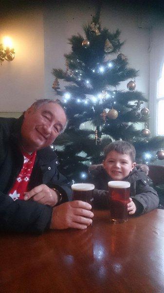 Enjoying a cheeky pint!
