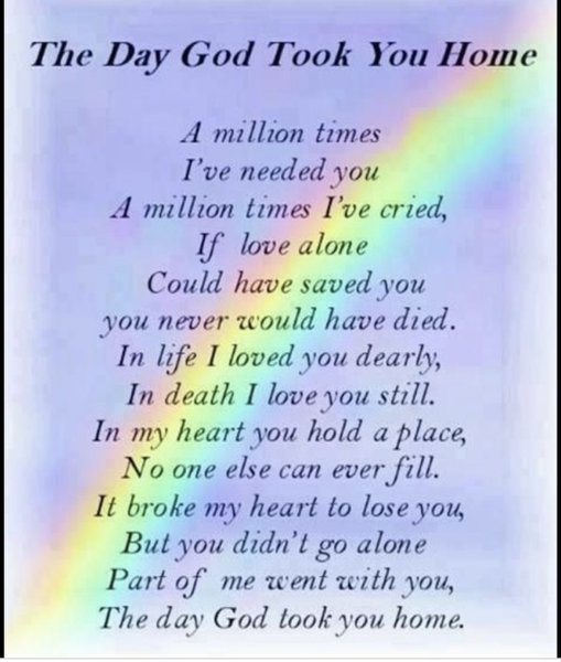 Mum I'll never say goodbye cause I don't have to one day we will be talking drinking and laughing just like nothing ever changed so I hold that in my heart and can't wait to see you and cuddle you and to hear you say Toni shut up now and go to sleep x