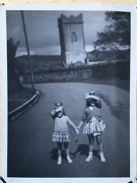 Philomena and Rosemary playing in Church Street, Boyle.