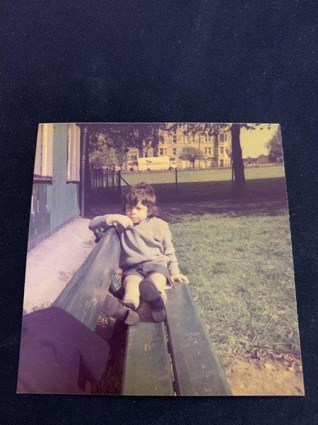 my brother at harrison park in edinburgh wearing his school uniform