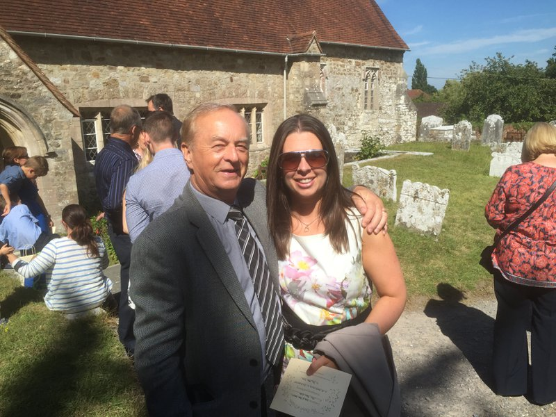 Happy days at a friends christening with Dad
