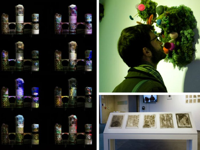 Exhibition pieces from Material Legacies: Clay sculptures, felt mushrooms and printing